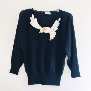 Vintage 1980's Humming Bird Sequin Sweater Top